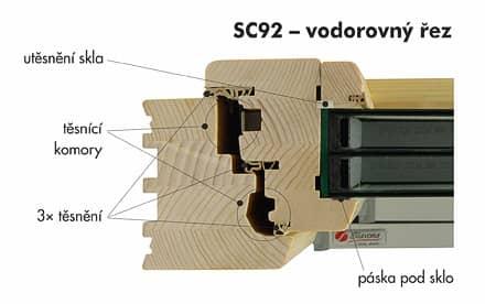 Dřevěné okno SC92 - řez ostění
