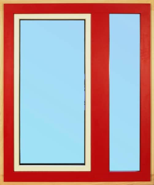 Dřevohliníkové okno neotevíravé fixní křídlo / otevíravé sklopné křídlo