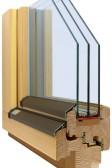 Dřevěné eurookno SC92-PLUS, zatepleno korkem v rámu a křídle dokola