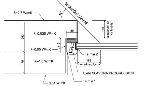 Obr.1: Schéma ostění okna, vápenopískové bloky, kontaktní zat. systém, okno PROGRESSION.