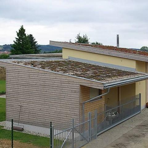Dřevostavba se zelenými střechami