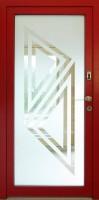 GLASS - dřevohliníkové vchodové dveře KLASIK s pískovaným sklem - exteriér (čtečka otisku prstu)