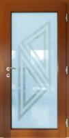 GLASS - dřevohliníkové vchodové dveře KLASIK s pískovaným sklem - interiér