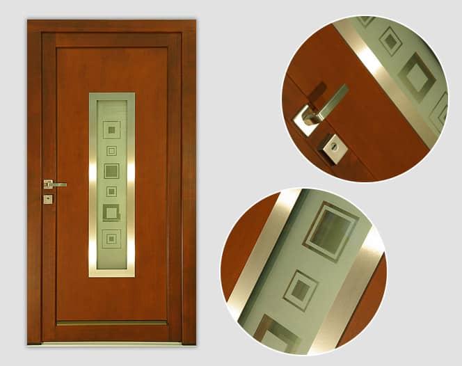 Dřevěné vchodové dveře RITA s pískovaným sklem
