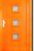 SOLION - dřevěné vchodové dveře, sklo s pískováním se vzorem (smrk)