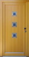 GORDANA - vchodové dveře z modřínu s nerez rámečky
