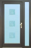 Vchodové dveře GLACE s bočním světlíkem, sklo s fusingem