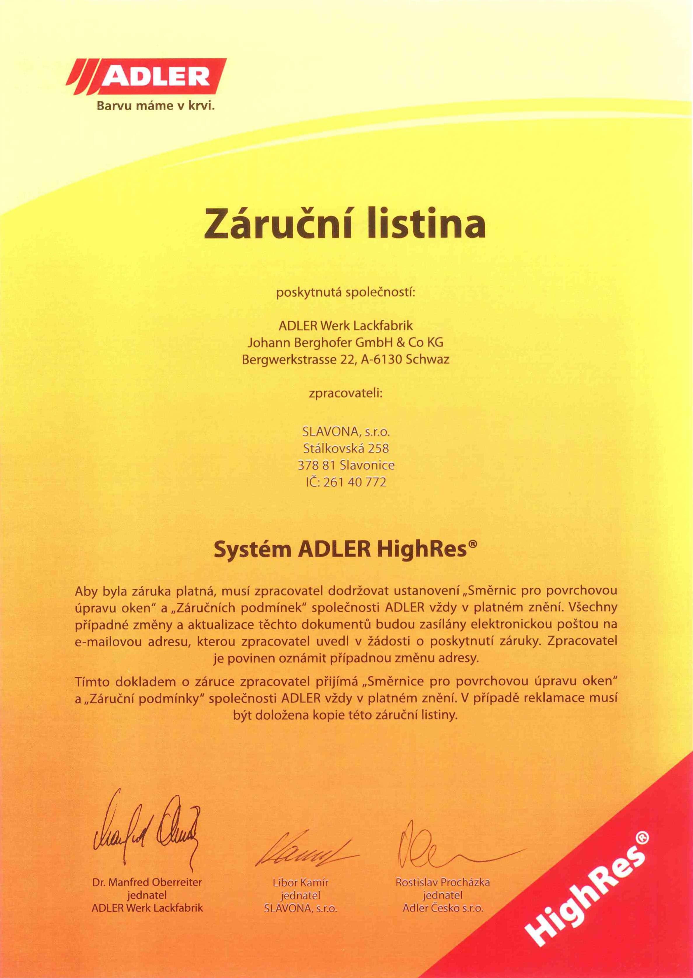 Záruční listina ADLER