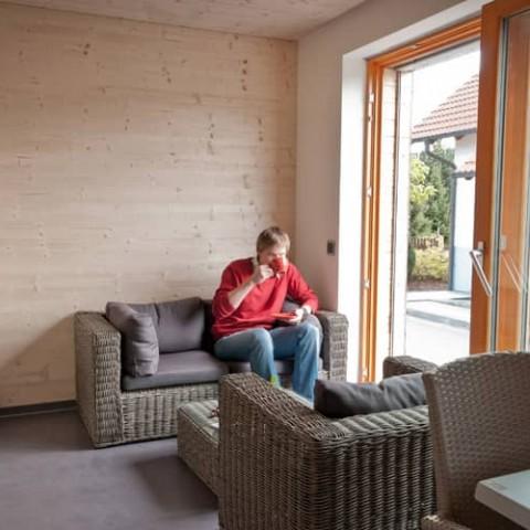 Interiér pasivní dřevostavby